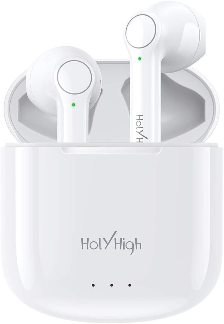 Écouteurs Bluetooth 5 sans Fil Stéréo, HolyHigh Oreillettes Intra-Auriculaires,Contrôle Tactile,25h d'Autonomie, Écouteurs de Sport,Appairage Automatique,Micro Intégré