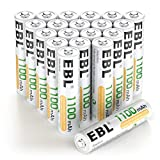 EBL 20 Pack AAA Rechargeable Batteries Ni-MH 1100mAh High Capacity (Typical 1100mAh, Minimum 1000mAh)