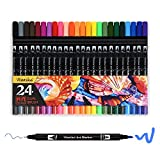 24 Marker Pens - Dual Tip Brush Pens with Fineliner Tip 0.4mm Art Markers for Adult Coloring Books, Drawing, Underlining (Pack of 24)