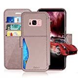 Samsung Galaxy S 8 Plus Leather Wallet Case with Cards Slot and Metal Magnetic Clip, TAKEN Galaxy S8 Plus Plastic Flip Case, Vintage and Fashion, Durable and Shockproof Holster (Rose Gold) 2017
