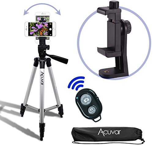 Acuvar 50″ Smartphone/Camera Tripod with Rotating Mount & Bluetooth Camera Remote. Fits iPhone X, 8, 8+, 7, 7 Plus, 6, 6 Plus, 5s Samsung Galaxy, Android, etc.