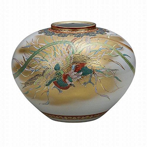 Jpanese traditional ceramic Kutani ware. Ikebana flower vase. Phoenix. With wooden box. ktn-K5-1351