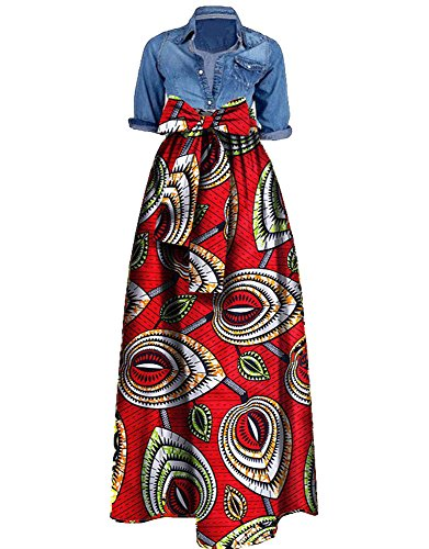 04baf1bdf76 Huiyuzhi Womens African Print Dashiki Dress Long Maxi A Line Skirt Ball Gown
