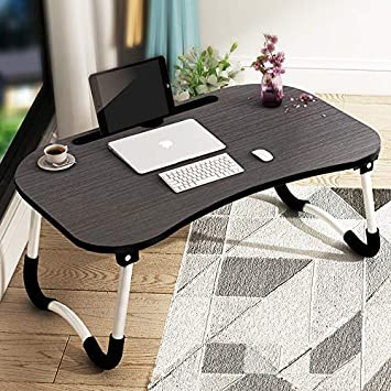 NIDHI FAB Multipurpose Foldable Laptop Table with Cup Holder, Study Table, Bed Table, Breakfast Table, Foldable and Portable/Ergonomic & Rounded Edges/Non-Slip Legs