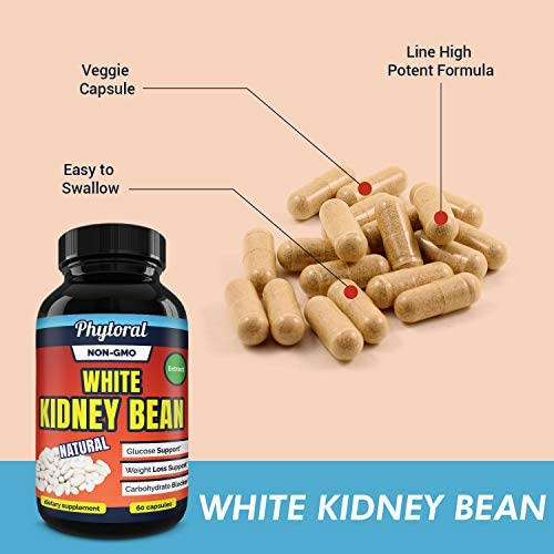White Kidney Bean Supplement Pills Pure Extract Starch Carb Blocker Weight Loss Formula - Lose Belly Fat Suppress Appetite Boost Metabolism Natural Weight Loss for Men and Women by Phytoral 8