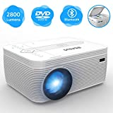 BIGASUO Projector with DVD Player, Portable Bluetooth Projector 2800 Lumens Built in DVD Player, Mini Projector Compatible with Fire TV Stick, Roku, PS4, Xbox, 170'' Display, 1080P Supported