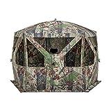 Barronett Pentagon Ground Hunting Blind, 4 Person Pop Up Portable, Backwoods Camo