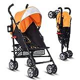 INFANS Lightweight Baby Umbrella Stroller, Foldable Infant Travel Stroller with 4 Position Recline, Adjustable Backrest, Cup Holder, Storage Basket, UV Protection Canopy, Carry Belt (Orange)