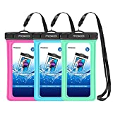 MoKo Floating Waterproof Phone Pouch [3 Pack], Waterproof Cellphone Case Dry Bag with Armband Lanyard Compatible iPhone X/Xs/Xr/Xs Max, 8/7/6s Plus, Samsung Galaxy S10/S9/S8 Plus, S10 e, Note 9/8