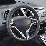 BDK SW-899-SK Genuine Leather Car Steering Wheel Cover 13.5