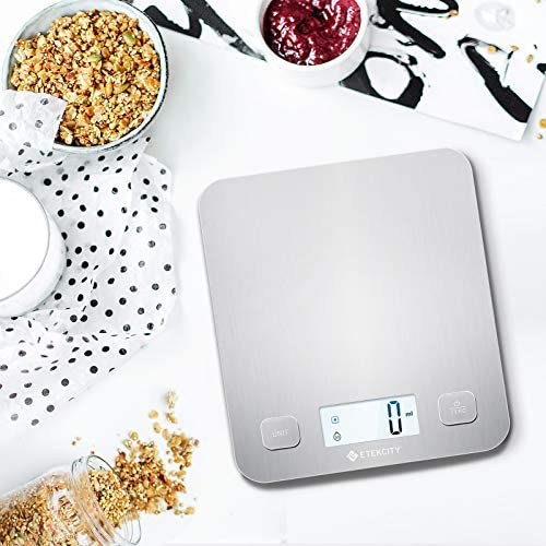 Etekcity Food Kitchen Scale, Digital Grams and Oz for Cooking, Baking, and Weight Loss, Christmas Gift for Holiday Meal Prep, Large, Stainless Steel 9