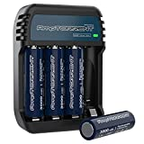 AmpTorrent Rechargeable AA Batteries Lithium 3000mWh High Capacity, 1.5V Constant Output, 2Hours Quick Charge, Pre-Charged Double AA Batteries 4 Pack with Charger Set