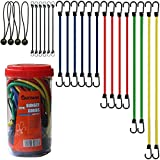 Cartman Bungee Cords Assortment Jar 24 Piece in Jar - Includes 10', 18', 24', 32', 40' Bungee Cord and 8' Canopy/Tarp Ball Ties