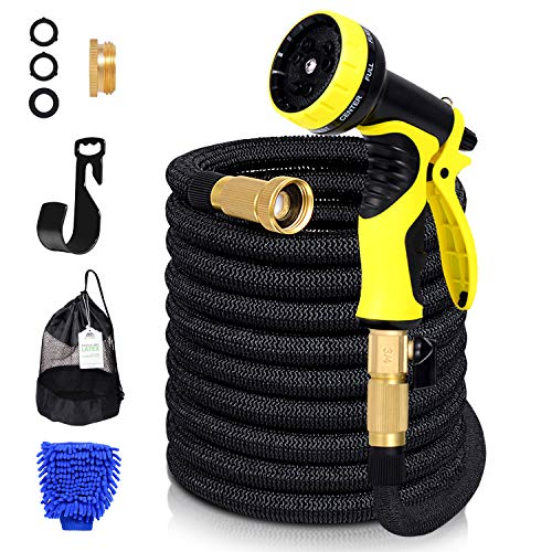 AdorioPower Flexible Expandable 50ft Garden Hose, 100% Latex Core Expanding Water Hose with Solid Brass Connectors, 9 Functions Spray Nozzle for Home, Garden, Car Washing & Heavy Duty