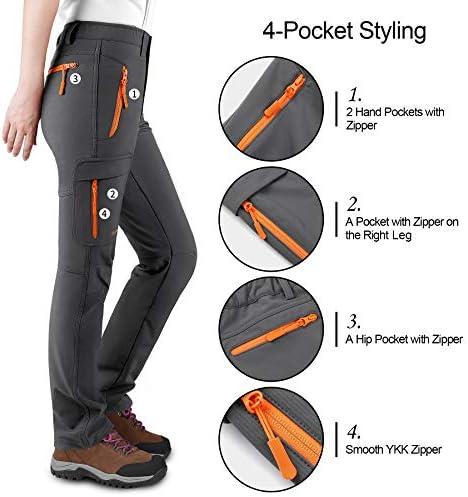 KUTOOK Women's Thermal Softshell Hiking Pants Windproof Polar Fleece Lined Cargo Pants for Winter Outdoor Sports 5