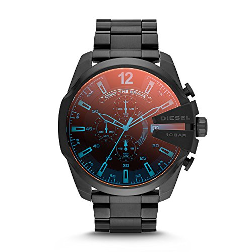 51bnVGFpBML Round watch featuring contrasting hour markers, three chronograph subdials, and a date display window 59 mm black stainless steel case with mineral dial window Quartz movement with analog display