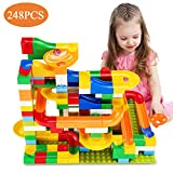 TEMI 248 PCS Marble Run Deluxe Sets for Kids | Marble Race Track for 3+ Year Old Boys and Girls | Marble Roller Coaster Building Block Construction Toys | Puzzle Maze Building Set with 8 Marbles Balls