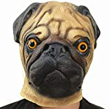 PARTY STORY Pug Dog Mask Halloween Cosplay Costume for Adults Decoration Props Latex Fancy Dress Novelty Full Head Masks