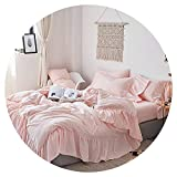 Pink White Beige Princess Luxury Ruffles Polyester Girl Bedding Set Duvet Cover Bed Sheet Fitted Sheet Pillowcases,4,1.5m Fitted Sheet