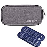 Lekesky Insulin Cooler Travel Case for Diabetic Organizer Insulated Cooling Bag with 2 Ice Packs, Grey
