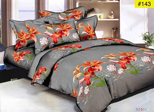 51btMbaT0XL - HIYANSHI HOME FURNISHING Microfiber 120 TC Double Bedsheet with 2 Pillow Covers (Multicolour)
