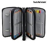 BTSKY Handy Wareable Oxford Colored Pencil Bags Large 72 Slots Pencil Organizer Portable Watercolor Pencil Wrap Case (Black)