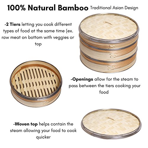 51btuZOyXVL - Livzing Bamboo Steamer Set With Lid- Brown
