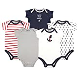 Luvable Friends Unisex Baby Cotton Bodysuits, Boy Nautical Short Sleeve 5 Pack, 9-12 Months (12M)
