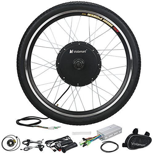 "Voilamart 26"" Front Wheel 48V 1000W Electric Bicycle Conversion Kit E-bike Cycling Brushless Hub Motor w/ Intelligent Controller Restricted to 750W for Road Bike"