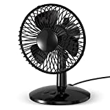 BENGOO Oscillating Desk Fan, USB Charged or AAA Battery (Not Included) Operated Table Fan, Mini Portable Fan with Adjustable Head, 2 Speeds, Personal Noiseless Fan for Home, Office, Outdoor, Black