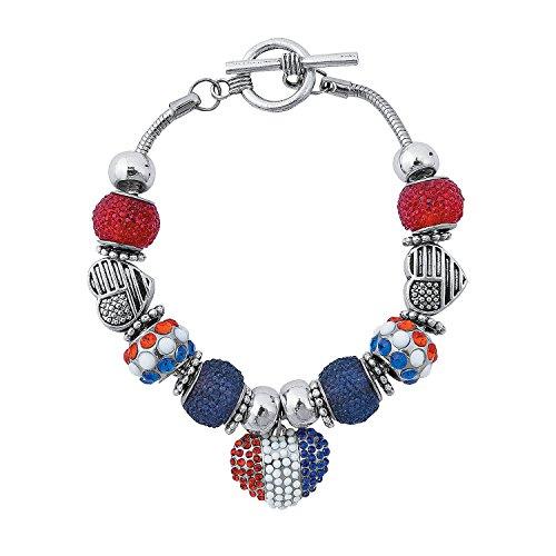 Fun Express - Patriotic Sugar Bead Bracelet Craft Kit for Fourth of July - Craft Kits - Adult Jewelry Craft Kits - Adult Bracelet - Fourth of July - 2 Pieces