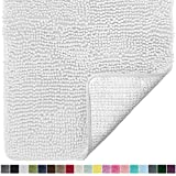 Gorilla Grip Original Luxury Chenille Bathroom Rug Mat, 24x17, Extra Soft and Absorbent Shaggy Rugs, Machine Wash Dry, Perfect Plush Carpet Mats for Tub, Shower, and Bath Room, White