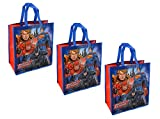 DC Comics Justice League Large 15.5-inch Reusable Shopping Tote or Gift Bag, 3-Pack