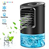 Portable Air Conditioner Fan, Mikikin Personal Space Air Conditioner Desk Fan Mini Evaporative Air Cooler Quiet Humidifier Cooling Fan with Handle, 7 Colors LED Lights, 3 Speeds for Home, Office, Room