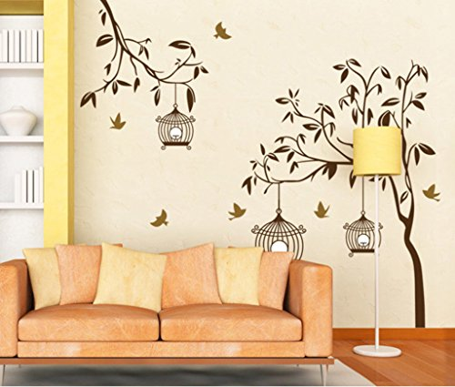 51c%2Bz9a83HL - Decals Design StickersKart Wall Stickers Tree with Birds and Cages (Brown)