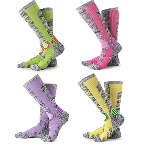 Womens Snow Ski Socks 4 Pack (Rose Red + Yellow + Purple + Lime Green)