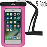 Waterproof Case,5 Pack iBarbe Universal Cell Phone Dry Bag Pouch Underwater Cover for Apple iPhone X 8 Plus 7 7 Plus 6S 6 6S Plus SE Samsung Galaxy Note s9 s s8 LUS S7 S6 Edge etc.to 5.7 inch,Rose