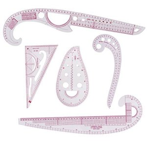 5 Style Sew French Curve Metric Shaped Ruler Plastic Fashion Metric Ruler Sewing Tool Set for Sewing Dressmaking Pattern Design Bendable Drawing Template