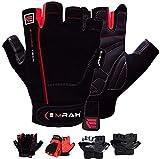EMRAH Workout Gym Gloves, Light Microfiber & Anti-Slip EVA Gel Grip Glove for Weight Lifting, Training, Fitness, Bodybuilding and Exercise Men & Women (Black-Black, Small)
