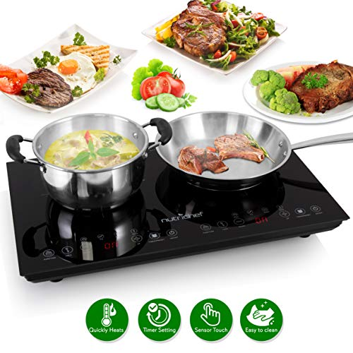 Double Induction Cooktop - Portable 120V Portable Digital Ceramic Dual Burner w/ Kids Safety Lock - Works with Flat Cast Iron Pan,1800 Watt,Touch Sensor Control, 12 Controls - NutriChef PKSTIND48