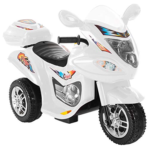 Lil' Rider Ride-On Toy Trike Motorcycle -Battery Operated Electric Tricycle for Toddlers with Built-in Sound & Working Headlights (White)