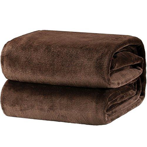 Bedsure Flannel Fleece Luxury Blanket Brown Queen Size Lightweight Cozy Plush Microfiber Solid Blanket