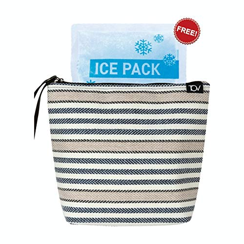 [SIZE UP] 9.84'L/3.15'W/8.26'H/, Insulated Reusable Eco Snack bag, Food Pouch, Portable Lunch Cooler Bag, Insulin Cooling Case, golf pouch,Waterproof, Work, Picnics, Travel, Men, Woman(stripe)