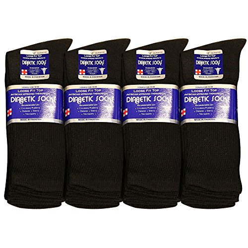 Physicians Approved Diabetic Socks Crew Unisex 3, 6 or 12-Pack