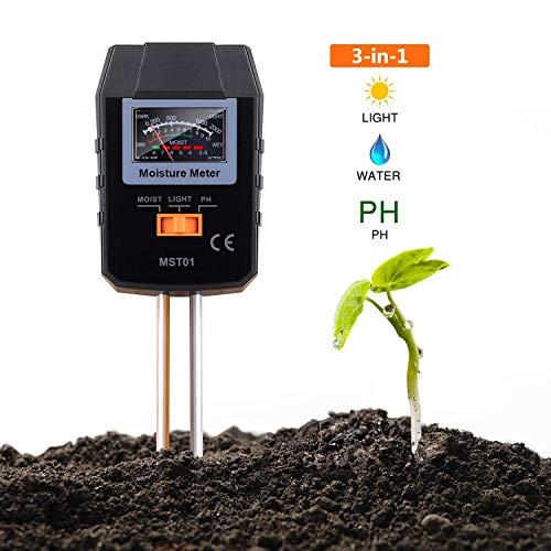 TACKLIFE Soil Test Kit, 3-in-1 Soil Moisture Meter Moisture, Light PH, Ideal Garden, Plant, Farm, Lawn, Indoor & Outdoor (No Battery Needed) - MST01