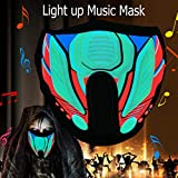 Halloween mask neon mask led mask Light up mask Light mask Cosplay mask led face mask led Rave mask X led mask with Sound Active for Halloween Cosplay Kids Dancing.Riding.Skating.Party&Music Festival