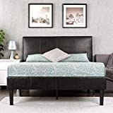 Zinus Gerard Deluxe Faux Leather Upholstered Platform Bed / Mattress Foundation / Easy Assembly / Strong Wood Slat Support,Queen