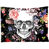 Tapestry Wall Hanging Skull,Halloween Floral Tapestry Bed Sheet Blanket Home Decor Bedroom Wall Decor (80' 60')