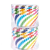 STARUBY Paper Baking Cups 200 Count Muffin Cupcake Liners Rainbow Styles Standard Size Baking Cups Disposable Cupcake Carrier