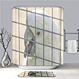 BEICICI Creative Shower Curtain and Bath mat Rug White Cockatoo Parrot in a cage in The Zoo Custom Stylish,Waterproof,Mildew Proof Bathroom Set